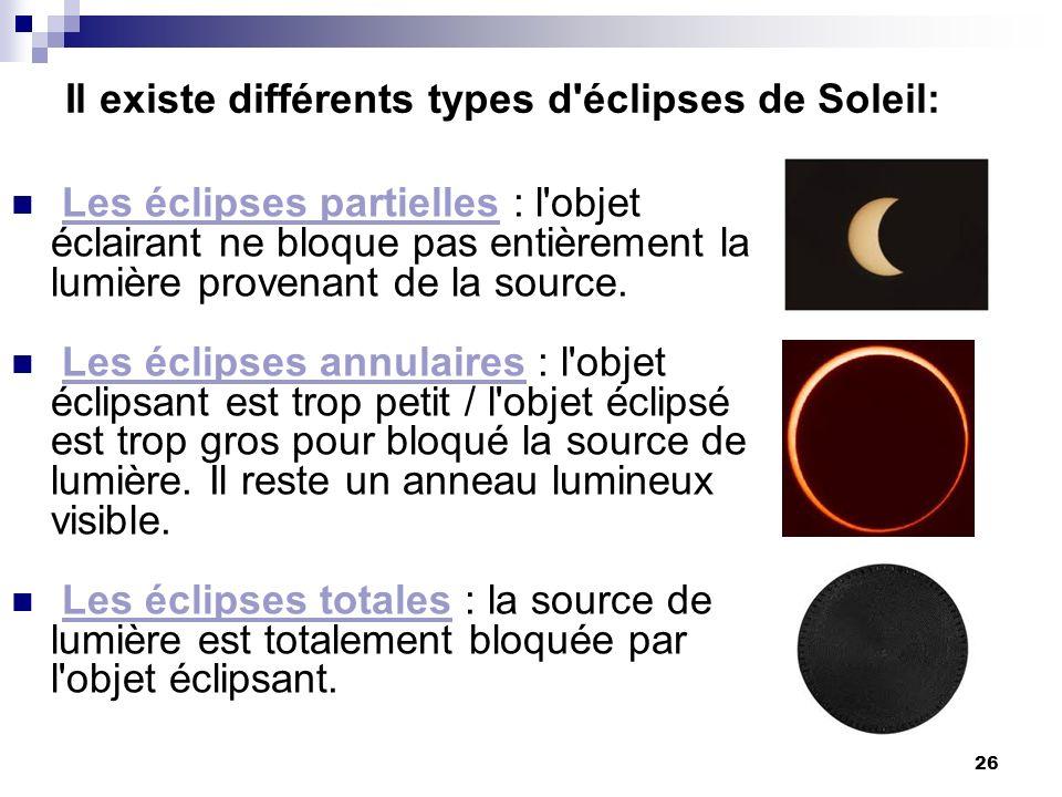 26 Les éclipses partielles : l'objet éclairant ne bloque pas entièrement la lumière provenant de la source. Les éclipses annulaires : l'objet éclipsan