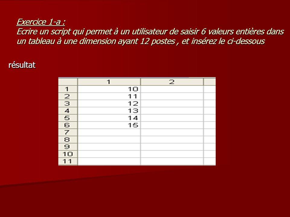 Exercice 1-a : Ecrire un script qui permet à un utilisateur de saisir 6 valeurs entières dans un tableau à une dimension ayant 12 postes, et insérez l
