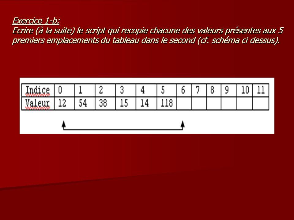 Exercice 1-b: Ecrire (à la suite) le script qui recopie chacune des valeurs présentes aux 5 premiers emplacements du tableau dans le second (cf. schém