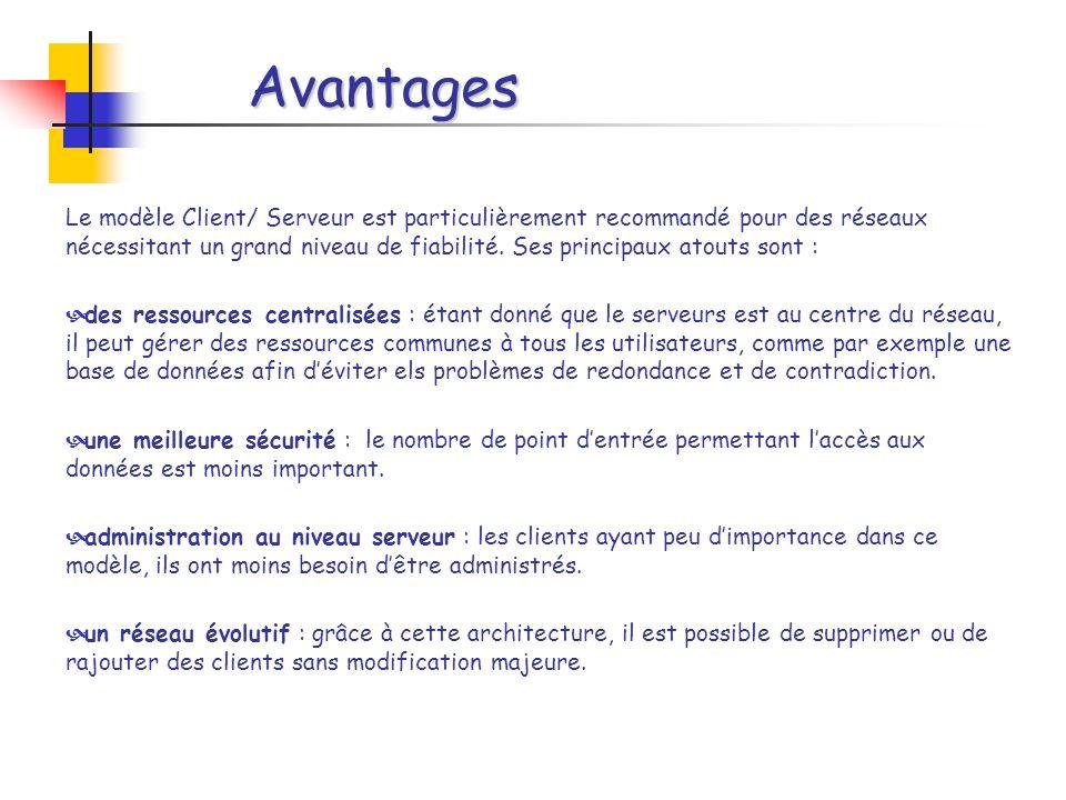Avantages Le modèle Client/ Serveur est particulièrement recommandé pour des réseaux nécessitant un grand niveau de fiabilité.
