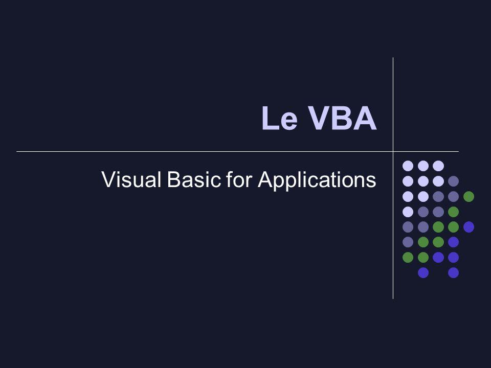 Sommaire : 1) Quest ce que le VBA .2) A quoi sert le VBA .