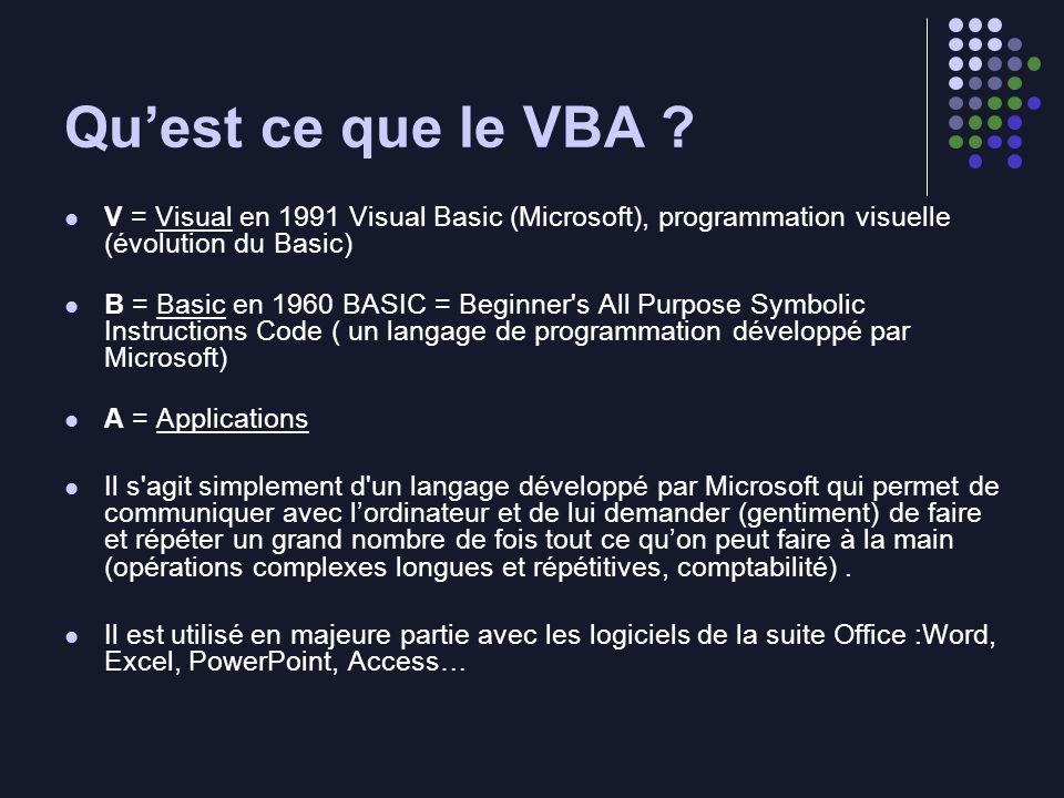Quest ce que le VBA ? V = Visual en 1991 Visual Basic (Microsoft), programmation visuelle (évolution du Basic) B = Basic en 1960 BASIC = Beginner's Al