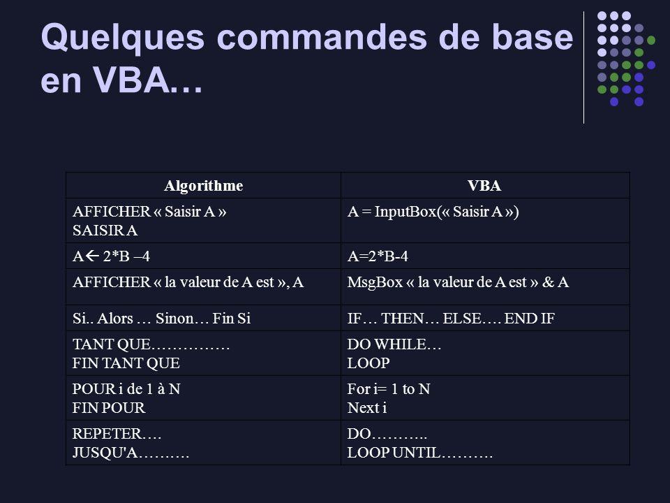 Quelques commandes de base en VBA… AlgorithmeVBA AFFICHER « Saisir A » SAISIR A A = InputBox(« Saisir A ») A 2*B –4 A=2*B-4 AFFICHER « la valeur de A