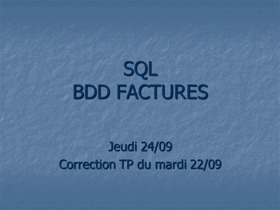 Nb de produits par facture (compter le nb de lignes / facture) select count(Réf) as nb prod , N°Fact from lignefacture group by N°Fact;