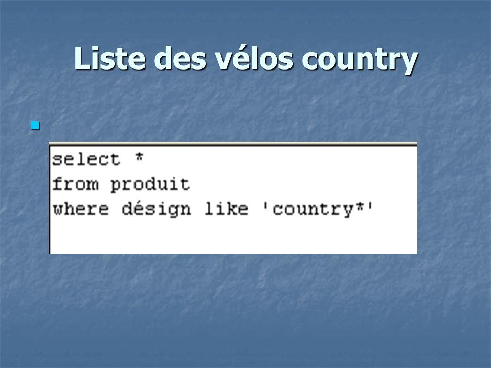 Liste des vélos country
