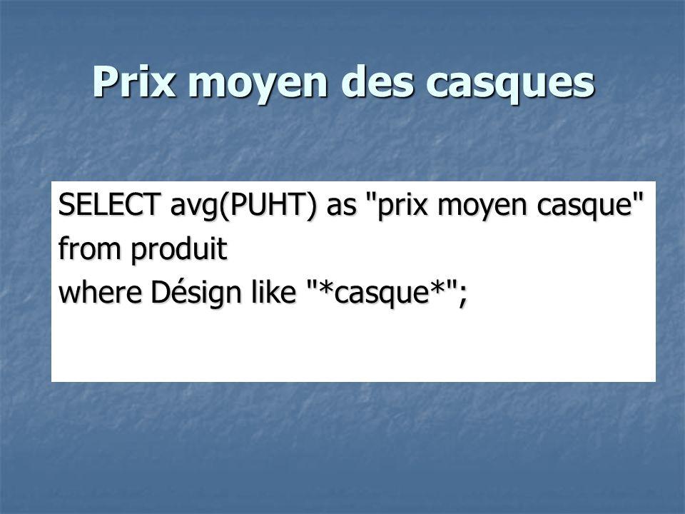 Prix moyen des casques SELECT avg(PUHT) as prix moyen casque from produit where Désign like *casque* ;