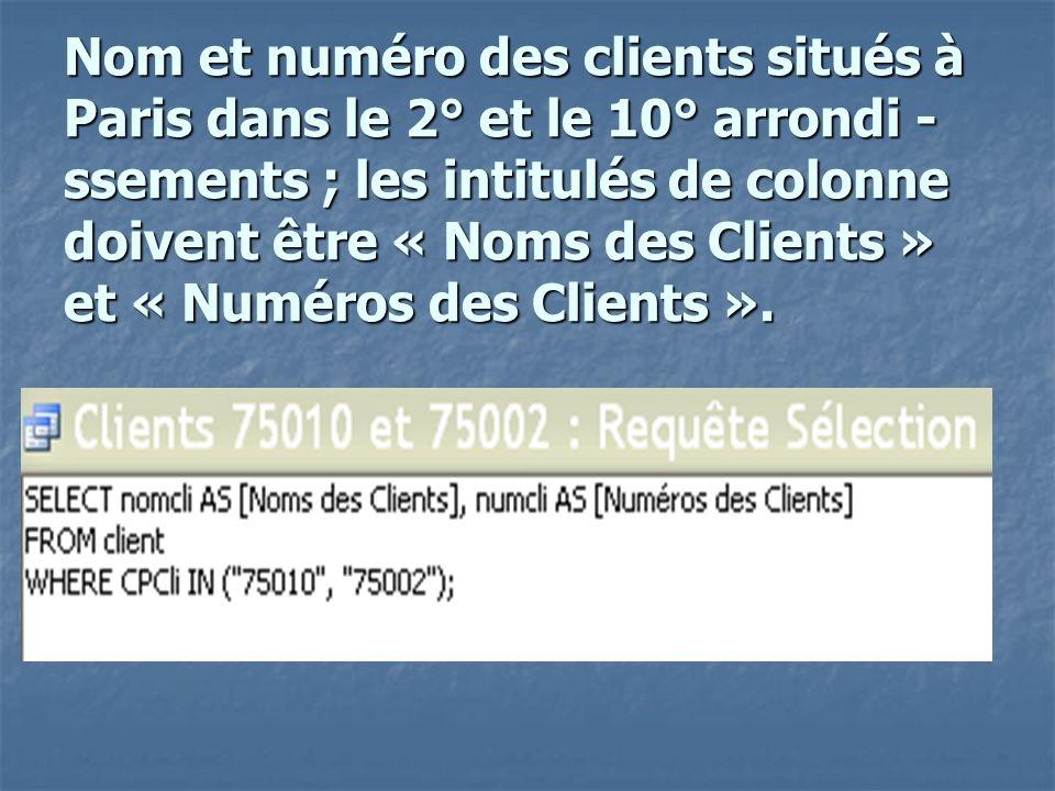 Nom et numéro des clients situés à Paris dans le 2° et le 10° arrondi - ssements ; les intitulés de colonne doivent être « Noms des Clients » et « Numéros des Clients ».