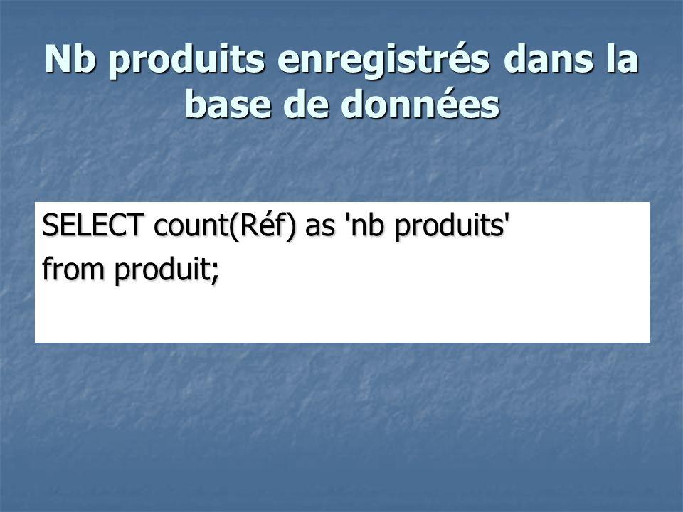 Nb produits enregistrés dans la base de données SELECT count(Réf) as nb produits from produit;