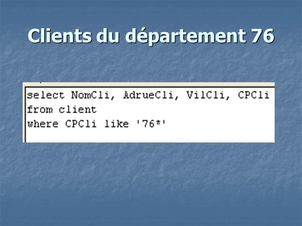 Nb de factures par client trié par nb fact decroissant select count(NumFact) as nb fact , NumCli from facture group by NumCli order by count(NumFact) ;