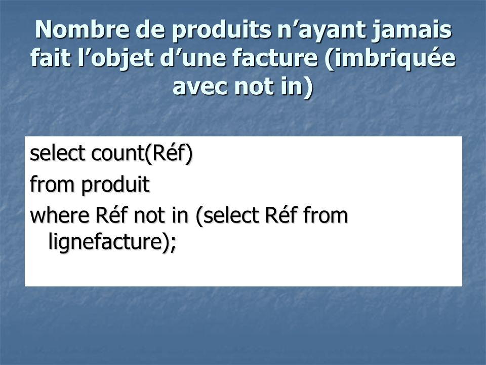 Nombre de produits nayant jamais fait lobjet dune facture (imbriquée avec not in) select count(Réf) from produit where Réf not in (select Réf from lignefacture);