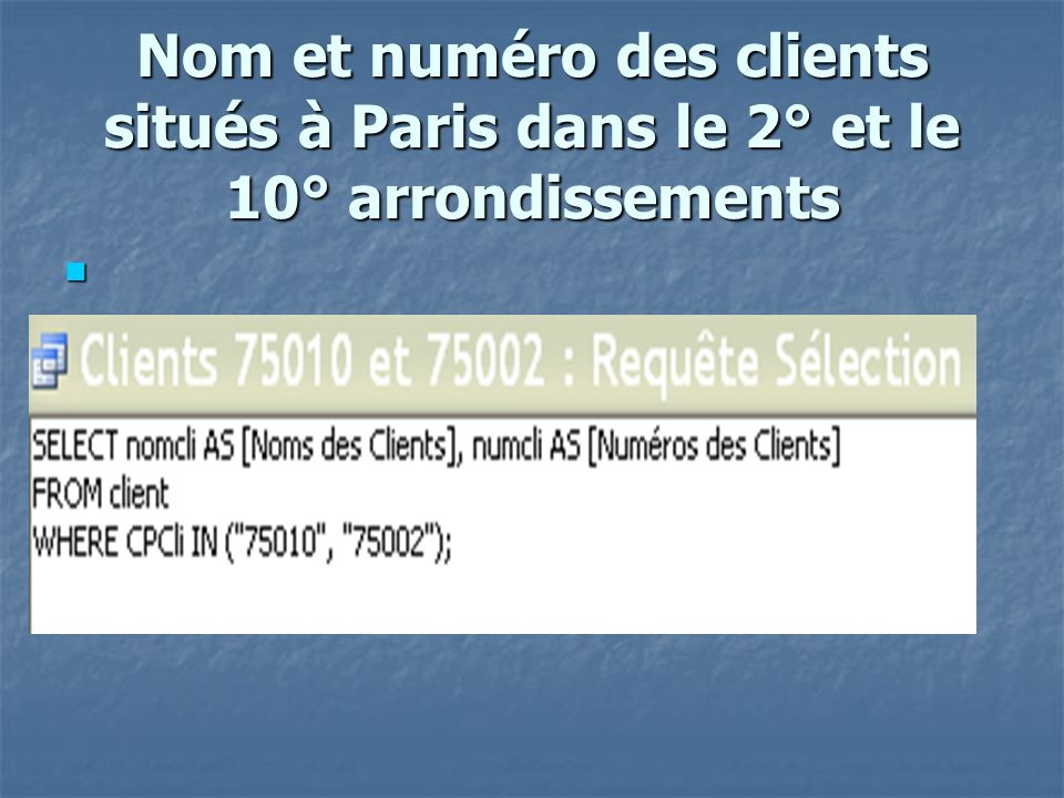 Nb de factures par produit select count(N°Fact) as nb fact , Réf from lignefacture group by Réf;