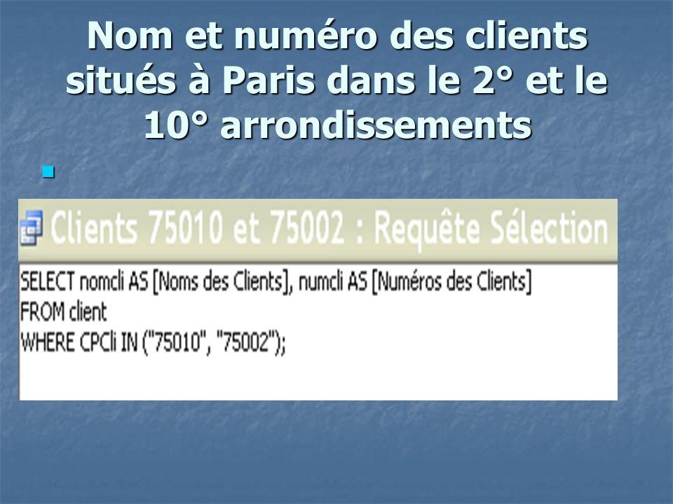 Nb clients de Paris SELECT count(NomCli) as nb cli paris from client where CPCli like 75* ;