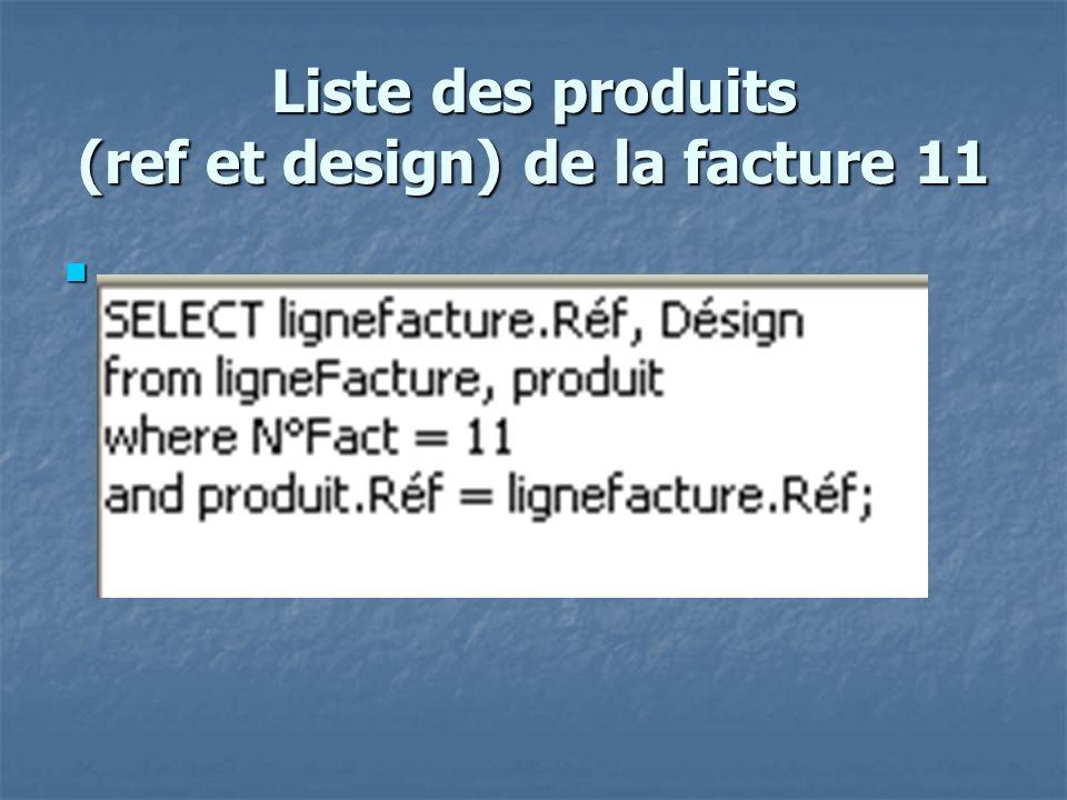 Nb maxi de quantité facturée du produit «151T» avec la designation du produit select Désign,QtéFact from produit, lignefacture where produit.Réf = 151T and lignefacture.Réf = 151T and QtéFact = (select max(QtéFact) from lignefacture where lignefacture.Réf = 151T );