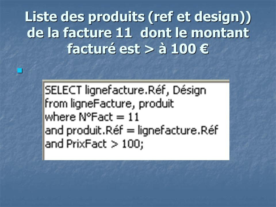 Montant total des factures du client 12 select sum(PrixFact) as mt client from lignefacture, facture where NumCli = 12 and lignefacture.N°Fact = facture.numfact;