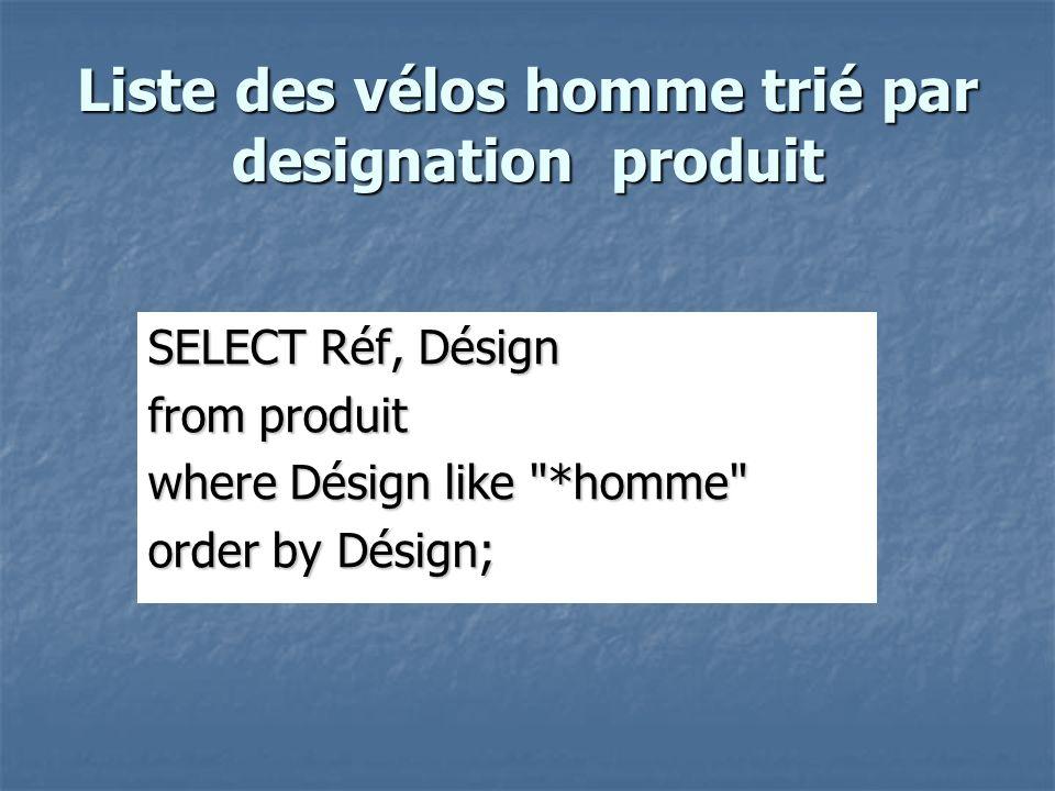 Liste des vélos homme trié par designation produit SELECT Réf, Désign from produit where Désign like *homme order by Désign;