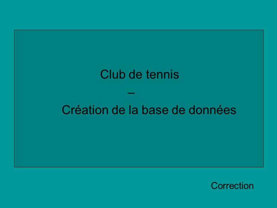 Club de tennis – Création de la base de données Correction
