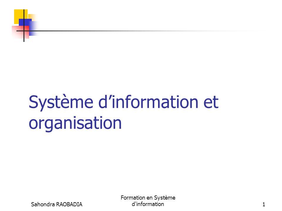 Sahondra RAOBADIA Formation en Système d information31 Le SI au service de la stratégie (6/6) Le SI est un facteur dagilité stratégique ObjectifsTechnologies informatiques Améliorer le fonctionnement des réseaux de partenariat (clients, sous traitants, fournisseurs) en augmentant la flexibilité stratégique.