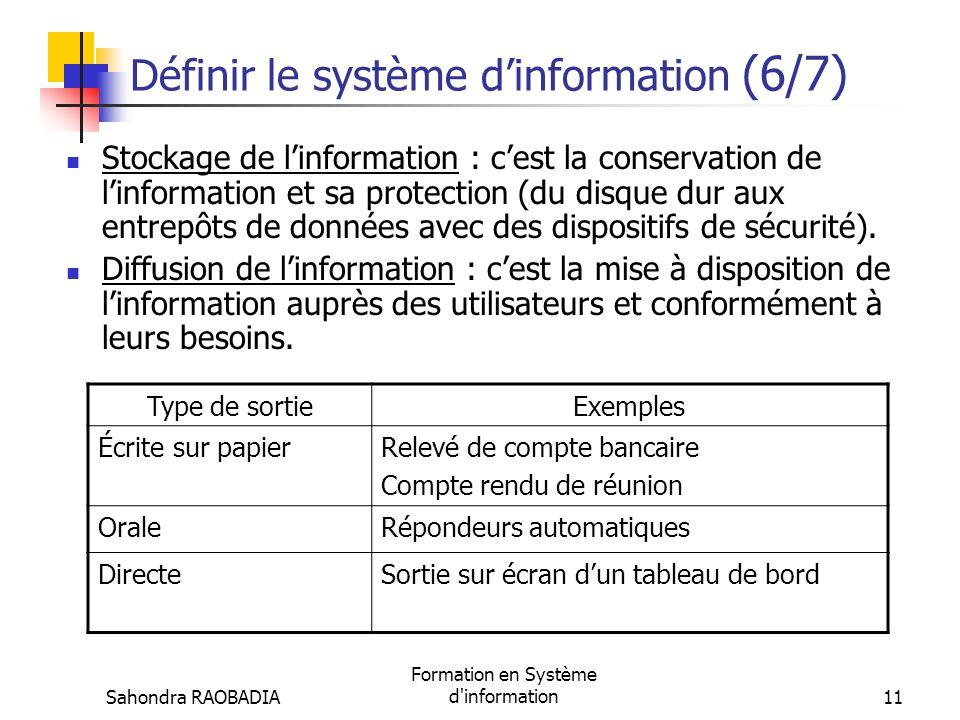 Sahondra RAOBADIA Formation en Système d'information10 Définir le système dinformation (5/7) Traitement de linformation : cest la transformation dune