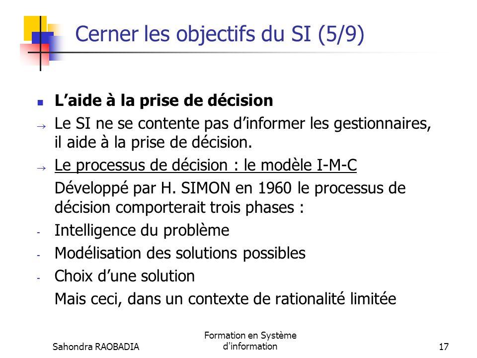 Sahondra RAOBADIA Formation en Système d'information16 Cerner les objectifs du SI (4/9) Besoins dinformation et niveau de décision Planification strat
