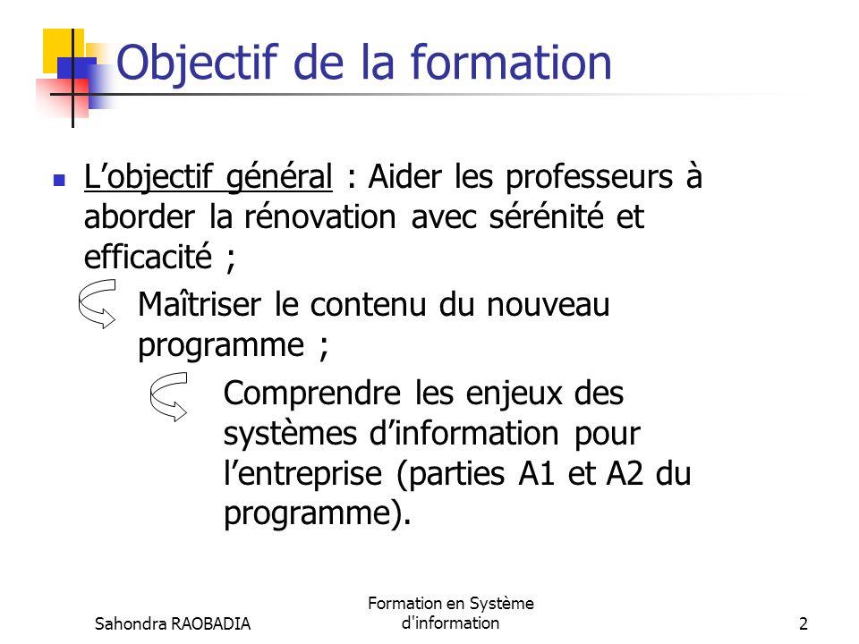 Sahondra RAOBADIA Formation en Système d information12 I.