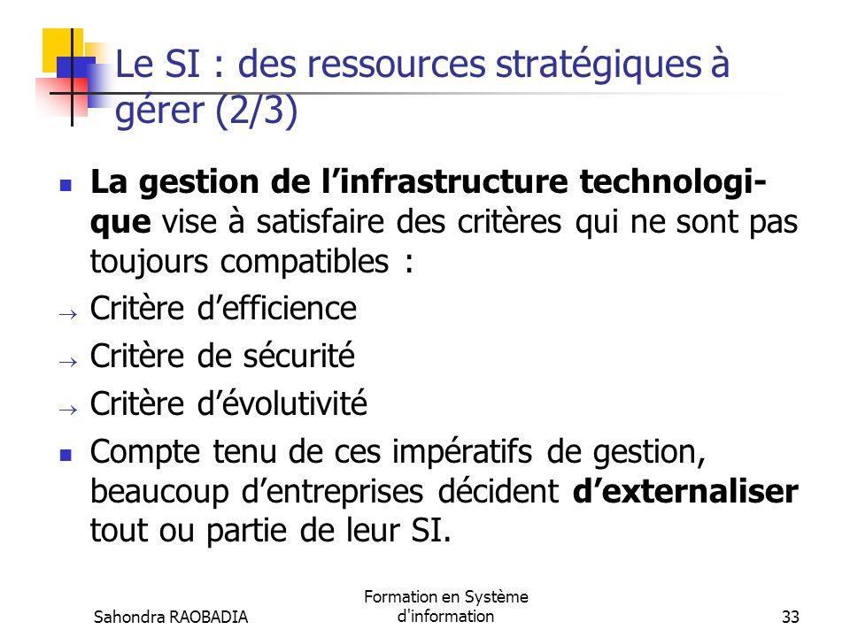 Sahondra RAOBADIA Formation en Système d'information32 Le SI : des ressources stratégiques à gérer (1/3) Deux ressources clés à gérer : Linfrastructur