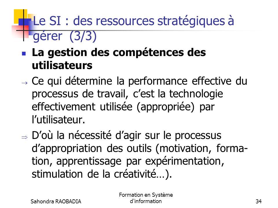 Sahondra RAOBADIA Formation en Système d'information33 Le SI : des ressources stratégiques à gérer (2/3) La gestion de linfrastructure technologi- que