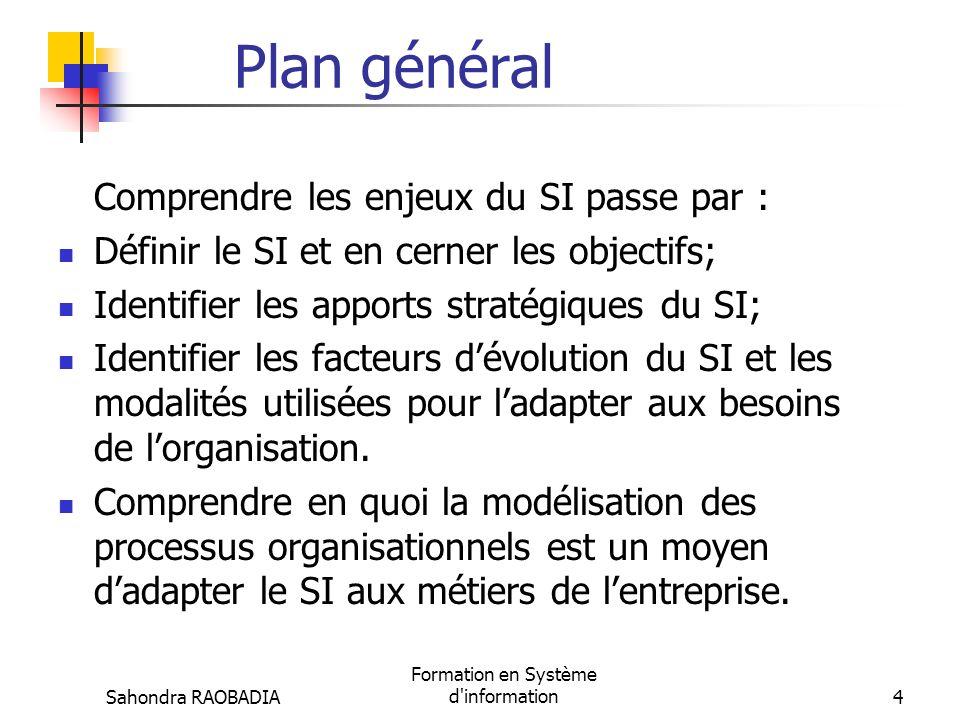 Sahondra RAOBADIA Formation en Système d information4 Plan général Comprendre les enjeux du SI passe par : Définir le SI et en cerner les objectifs; Identifier les apports stratégiques du SI; Identifier les facteurs dévolution du SI et les modalités utilisées pour ladapter aux besoins de lorganisation.