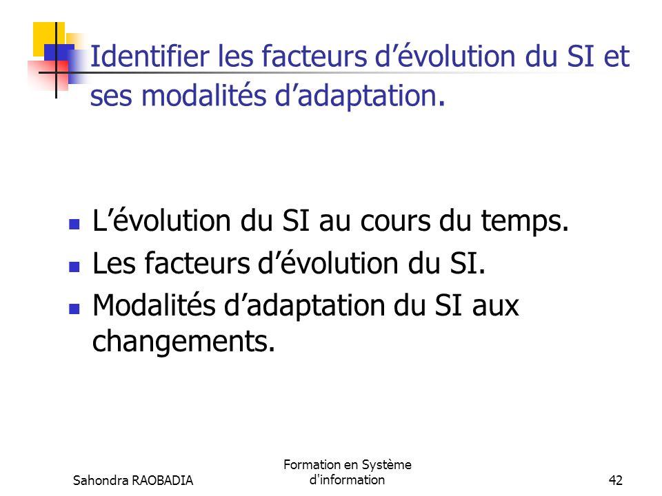 Sahondra RAOBADIA Formation en Système d'information41 Troisième partie : Identifier les facteurs dévolution du SI et ses modalités dadaptation.