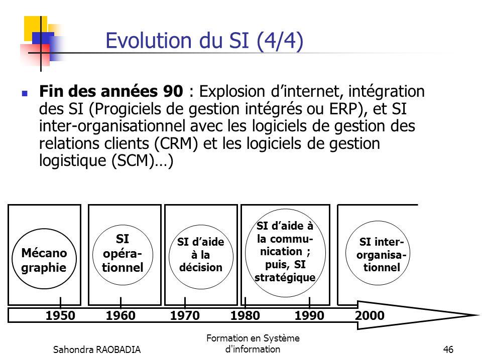 Sahondra RAOBADIA Formation en Système d'information45 Evolution du SI (3/4) Début des années 80 : SI daide à la communication interne (réseaux locaux