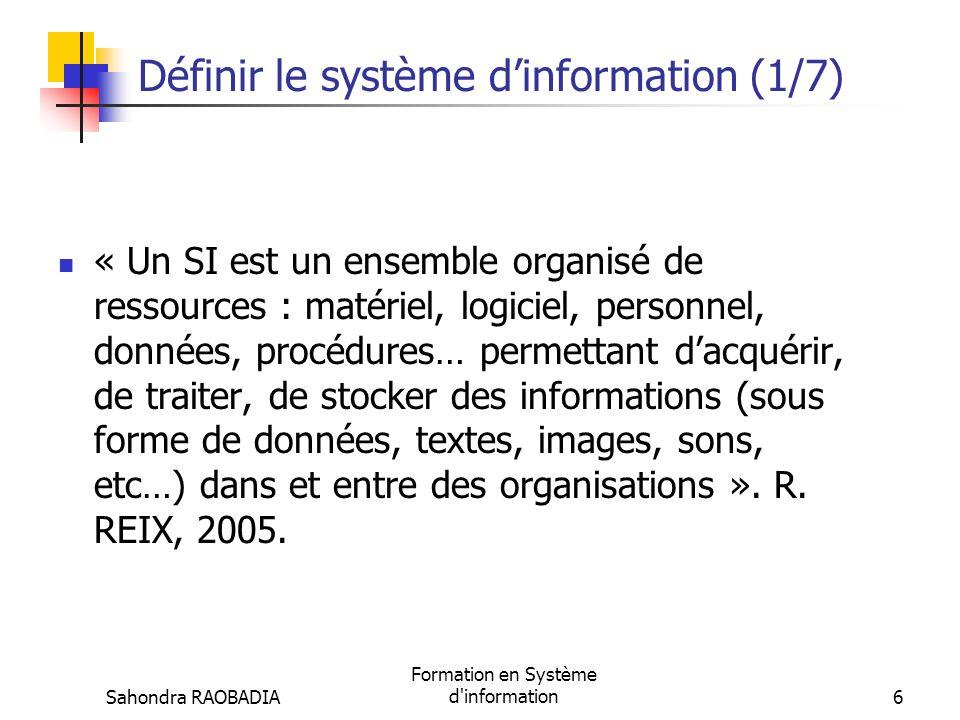 Sahondra RAOBADIA Formation en Système d information46 Evolution du SI (4/4) Fin des années 90 : Explosion dinternet, intégration des SI (Progiciels de gestion intégrés ou ERP), et SI inter-organisationnel avec les logiciels de gestion des relations clients (CRM) et les logiciels de gestion logistique (SCM)…) 195019601970198019902000 Mécano graphie SI daide à la décision SI opéra- tionnel SI daide à la commu- nication ; puis, SI stratégique SI inter- organisa- tionnel