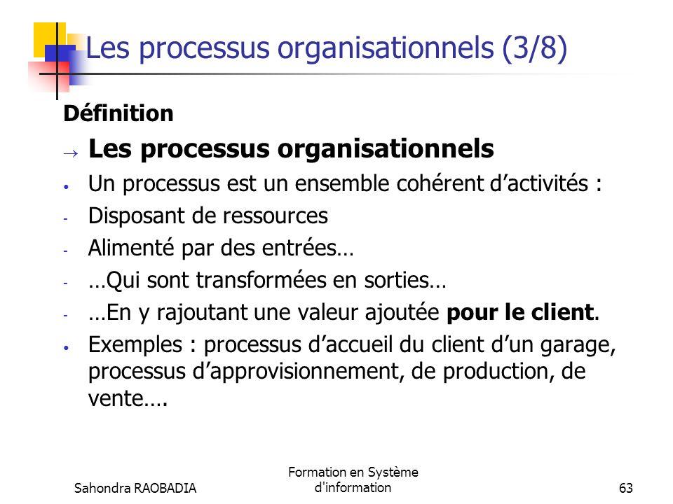 Sahondra RAOBADIA Formation en Système d'information62 Les processus organisationnels (2/8) Représentation Liste des réparations à effectuer sur la vo
