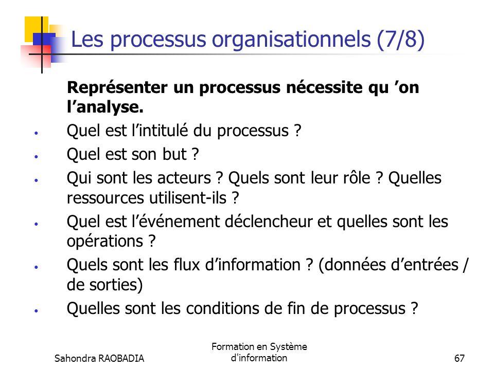 Sahondra RAOBADIA Formation en Système d'information66 Les processus organisationnels (6/8) On distingue, généralement 3 familles de processus : Les p