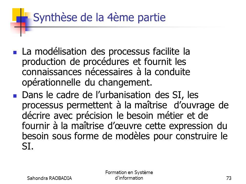Sahondra RAOBADIA Formation en Système d'information72 La modélisation des processus (4/4) Intérêt de lapproche processus Dun point de vue technique,