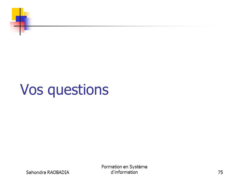 Sahondra RAOBADIA Formation en Système d'information74 Bibliographie R. Reix, « Système dinformation et management des organisations ». Paris, Vuibert