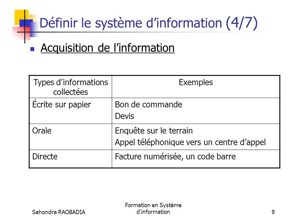 Sahondra RAOBADIA Formation en Système d'information8 Définir le système dinformation (3/7) Les fonctions du SI AcquisitionStockage Traitement Diffusi