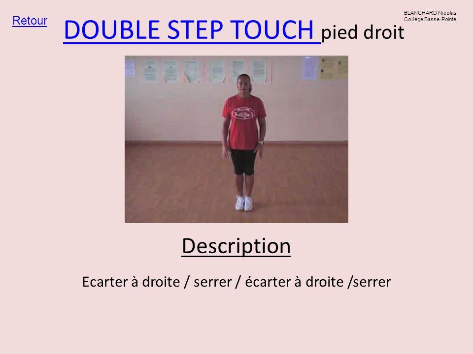 DOUBLE STEP TOUCH DOUBLE STEP TOUCH pied droit Retour BLANCHARD Nicolas Collège Basse-Pointe Ecarter à droite / serrer / écarter à droite /serrer Desc