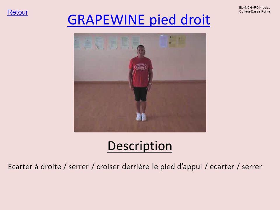 GRAPEWINE pied droit Retour BLANCHARD Nicolas Collège Basse-Pointe Description Ecarter à droite / serrer / croiser derrière le pied dappui / écarter /