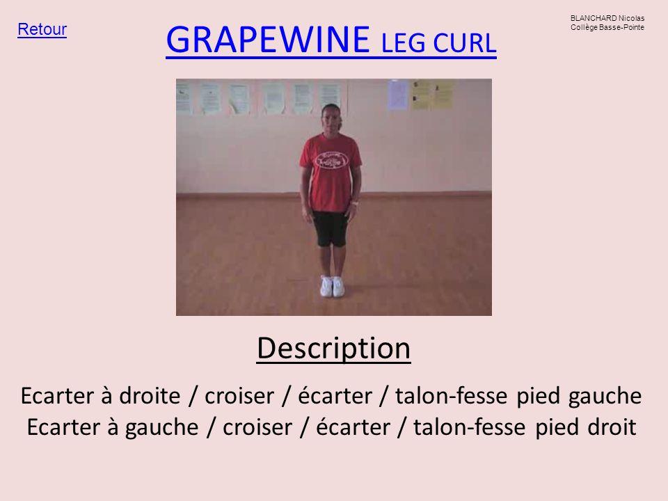 GRAPEWINE LEG CURL Ecarter à droite / croiser / écarter / talon-fesse pied gauche Ecarter à gauche / croiser / écarter / talon-fesse pied droit Retour