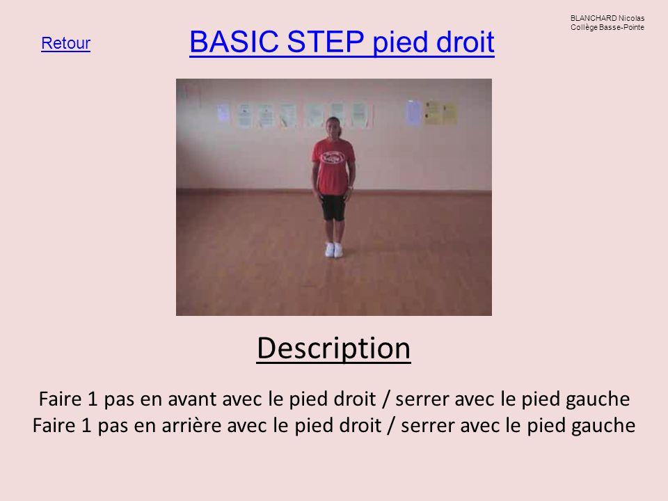 BASIC STEP pied droit Retour BLANCHARD Nicolas Collège Basse-Pointe Description Faire 1 pas en avant avec le pied droit / serrer avec le pied gauche F