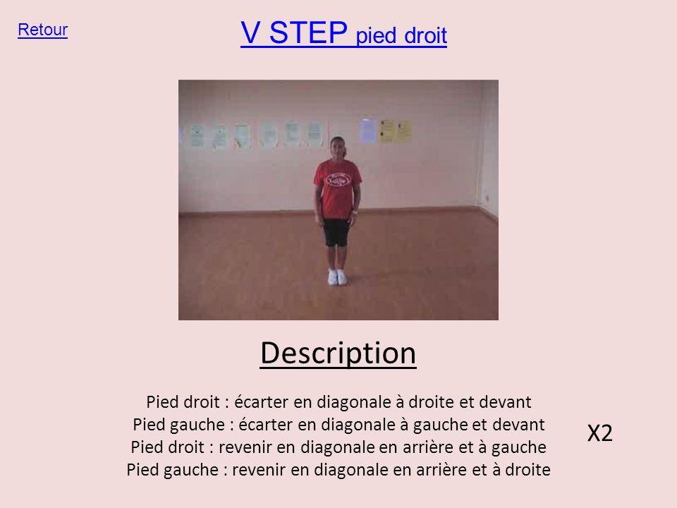 V STEP pied droit Retour Description Pied droit : écarter en diagonale à droite et devant Pied gauche : écarter en diagonale à gauche et devant Pied d