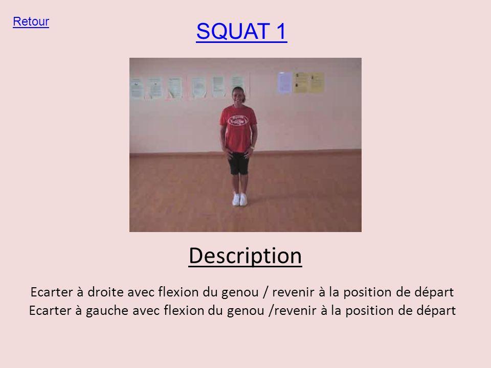 SQUAT 1 Retour Description Ecarter à droite avec flexion du genou / revenir à la position de départ Ecarter à gauche avec flexion du genou /revenir à
