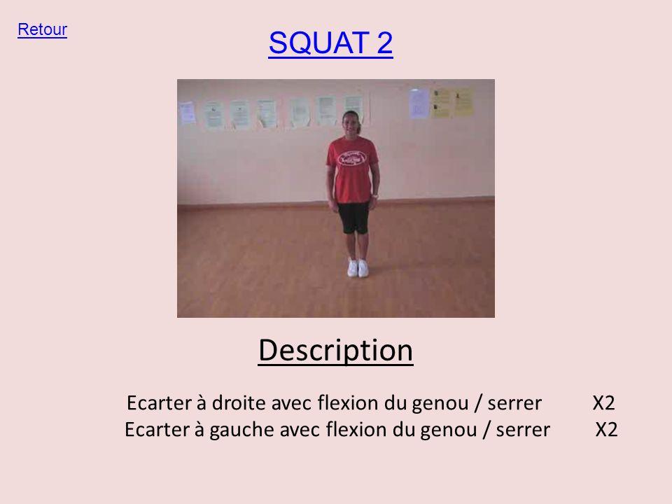 SQUAT 2 Retour Description Ecarter à droite avec flexion du genou / serrer X2 Ecarter à gauche avec flexion du genou / serrer X2