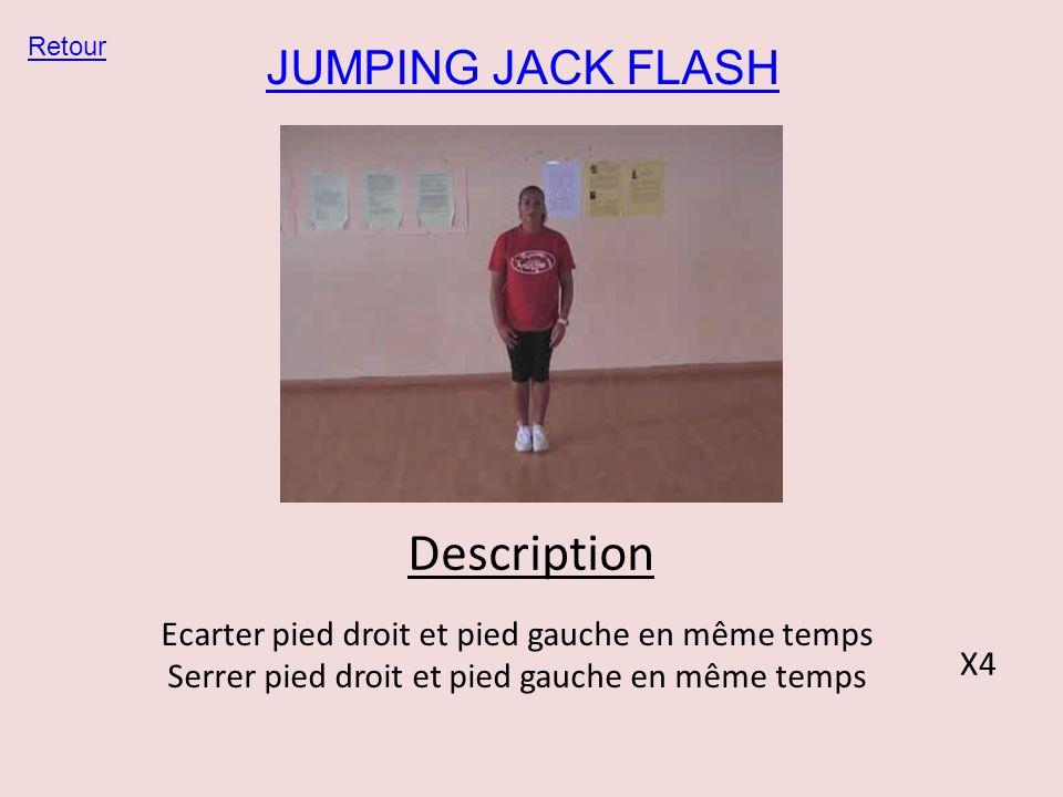 JUMPING JACK FLASH Retour Description Ecarter pied droit et pied gauche en même temps Serrer pied droit et pied gauche en même temps X4