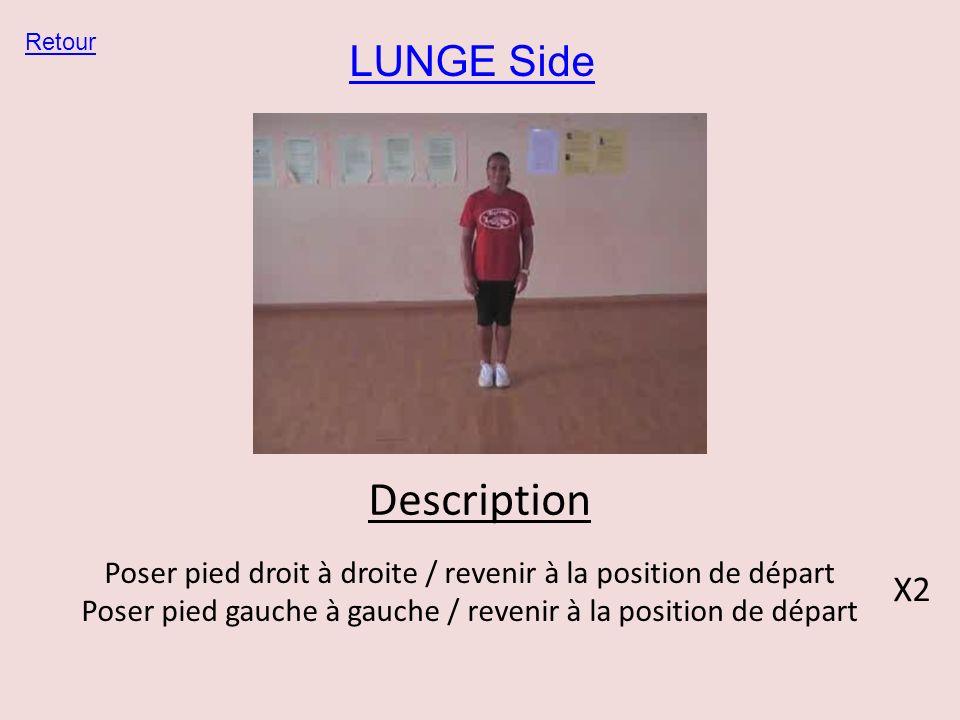 LUNGE Side Retour Description Poser pied droit à droite / revenir à la position de départ Poser pied gauche à gauche / revenir à la position de départ