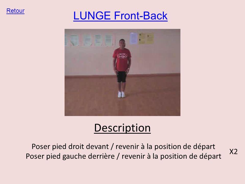 LUNGE Front-Back Retour Description Poser pied droit devant / revenir à la position de départ Poser pied gauche derrière / revenir à la position de dé
