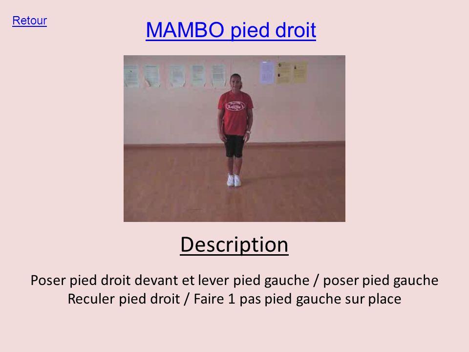 MAMBO pied droit Retour Description Poser pied droit devant et lever pied gauche / poser pied gauche Reculer pied droit / Faire 1 pas pied gauche sur