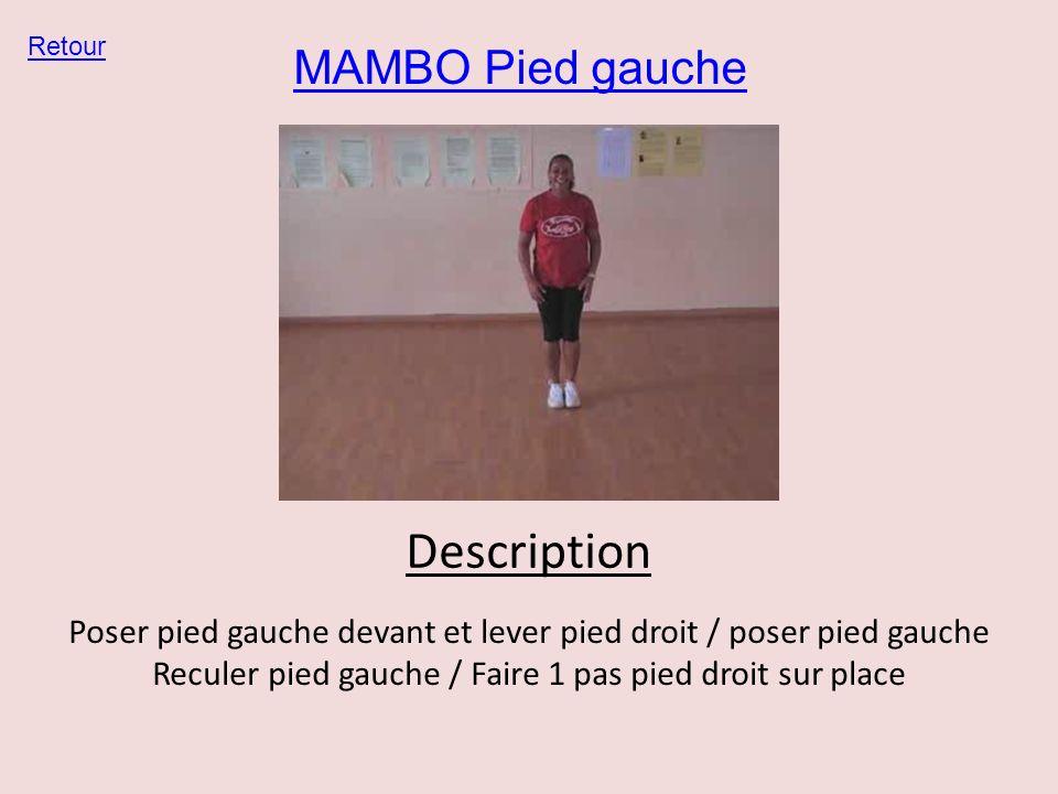 MAMBO Pied gauche Retour Description Poser pied gauche devant et lever pied droit / poser pied gauche Reculer pied gauche / Faire 1 pas pied droit sur