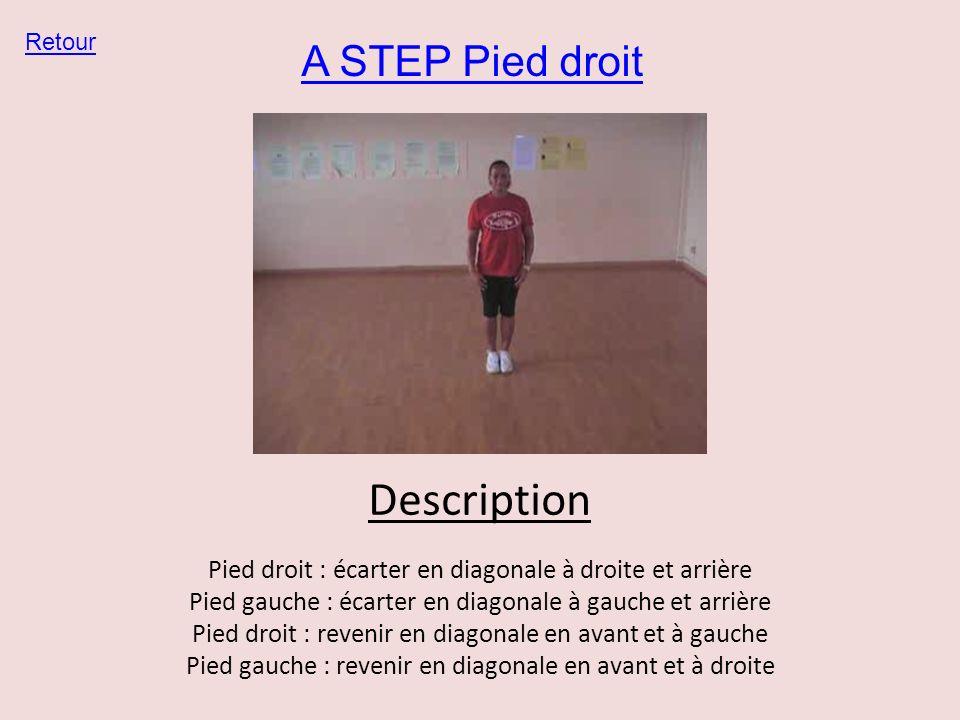 A STEP Pied droit Retour Description Pied droit : écarter en diagonale à droite et arrière Pied gauche : écarter en diagonale à gauche et arrière Pied