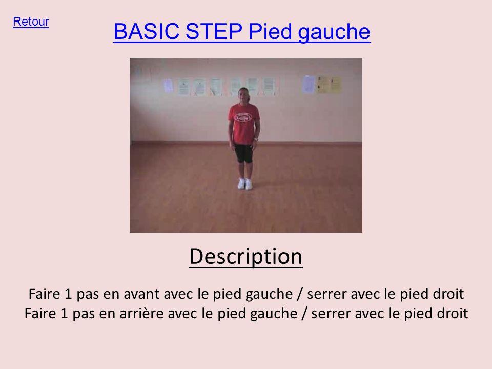 BASIC STEP Pied gauche Retour Description Faire 1 pas en avant avec le pied gauche / serrer avec le pied droit Faire 1 pas en arrière avec le pied gau