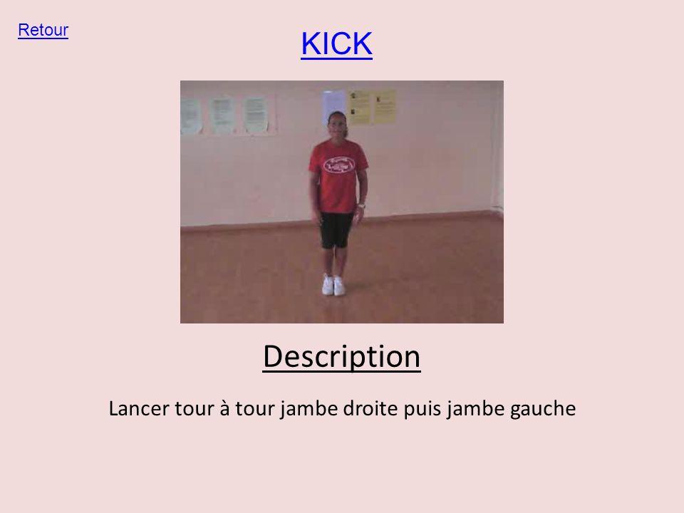 KICK Retour Description Lancer tour à tour jambe droite puis jambe gauche